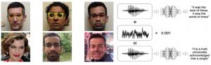 Exemples des attaques perturbant le réseau de neurones. Gauche : exemple en traitement d'images. Droite : exemple en audio.